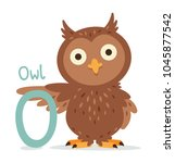 Stock vector animal alphabet o for owl cute and sweet owl mascot vector 1045877542
