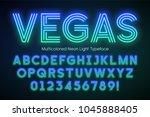 neon light alphabet ... | Shutterstock .eps vector #1045888405