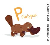 animal alphabet   p for... | Shutterstock .eps vector #1045888915