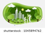 eco green illustration with... | Shutterstock .eps vector #1045894762