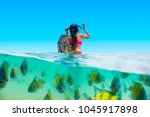 half shot traveler woman in... | Shutterstock . vector #1045917898