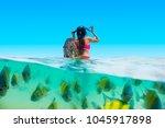 half shot traveler woman in...   Shutterstock . vector #1045917898