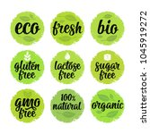 Gluten, lactose, sugar, Gmo free, bio, eco, fresh calligraphic handwriting lettering with leaf, cube, drop. Vector white vintage illustration on green circle sticker. Sign 100% natural organic food