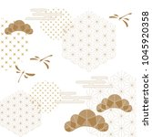 japanese pattern vector. gold... | Shutterstock .eps vector #1045920358