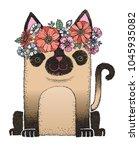 a cute siamese cat wearing a... | Shutterstock .eps vector #1045935082