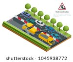 isometric traffic on the road ... | Shutterstock .eps vector #1045938772