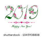 2019 happy new year greeting... | Shutterstock .eps vector #1045938808