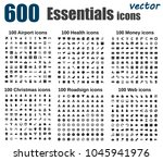 large vector icon set   airport ... | Shutterstock .eps vector #1045941976