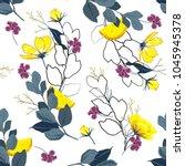trendy bright summer blooming... | Shutterstock .eps vector #1045945378