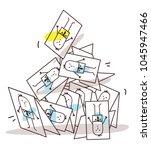 cartoon collapsing business... | Shutterstock .eps vector #1045947466