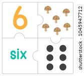 the jigsaw puzzle number 6 | Shutterstock .eps vector #1045947712