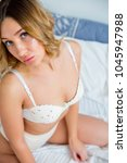 young woman in a lingerie | Shutterstock . vector #1045947988