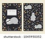 cute little sloth sleeping... | Shutterstock .eps vector #1045950352
