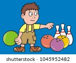 boy and bowling  vector icon ... | Shutterstock .eps vector #1045952482
