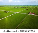 aerial view of paddy field at... | Shutterstock . vector #1045953916
