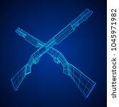 shotgun rifle hunting carbine... | Shutterstock .eps vector #1045971982
