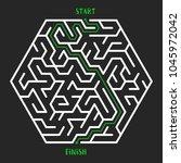 hexagonal maze game background. ... | Shutterstock . vector #1045972042
