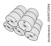 metal barrel wireframe low poly ... | Shutterstock .eps vector #1045972096