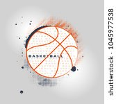 basketball text in the ball... | Shutterstock .eps vector #1045977538
