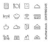 restaurant  icons set. line... | Shutterstock .eps vector #1045980145