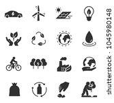 ecology monochrome icons set.... | Shutterstock .eps vector #1045980148