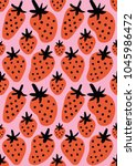 fun freehand drawing strawberry ... | Shutterstock .eps vector #1045986472
