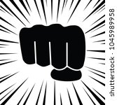comic style zooming fist punch...   Shutterstock .eps vector #1045989958