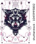white wolf sacred geometry | Shutterstock .eps vector #1045995802