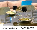 glass table surface served for... | Shutterstock . vector #1045998076