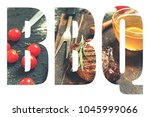 bbq. abbreviation of the word ... | Shutterstock . vector #1045999066