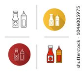 ketchup and mustard icon. flat... | Shutterstock .eps vector #1046005975