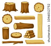 set of wood logs for forestry... | Shutterstock .eps vector #1046012752