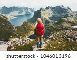 woman alone with backpack... | Shutterstock . vector #1046013196