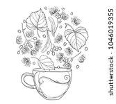 vector outline cup of linden or ... | Shutterstock .eps vector #1046019355