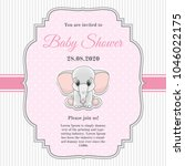 Stock vector cute invitation card for baby shower with toy elephant 1046022175