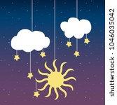 cloud sun stars on a thread on... | Shutterstock .eps vector #1046035042