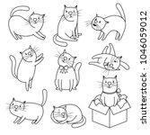 hand drawn cat. doodle cats...   Shutterstock .eps vector #1046059012