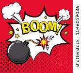 comic bomb. cartoon kaboom bomb ... | Shutterstock .eps vector #1046059036