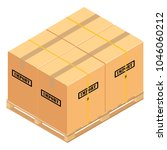 boxes on wooden pallet. ... | Shutterstock .eps vector #1046060212