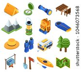 isometric camping icon set.... | Shutterstock .eps vector #1046073568