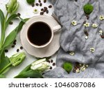 spring coffee. time for coffee. ... | Shutterstock . vector #1046087086