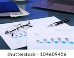 collage with business papers on ...   Shutterstock . vector #104609456