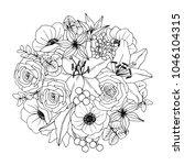 flower  bouquet. vector... | Shutterstock .eps vector #1046104315