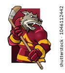 wolf ice hockey player. sport... | Shutterstock .eps vector #1046112442