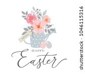 happy easter handwritten... | Shutterstock .eps vector #1046115316