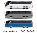 realistic buses set. side view | Shutterstock .eps vector #1046126845