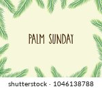 palm sunday poster with leafs.... | Shutterstock .eps vector #1046138788