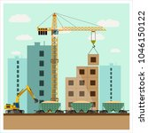 construction site with... | Shutterstock .eps vector #1046150122