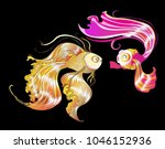 gold fish vector cartoon... | Shutterstock .eps vector #1046152936