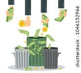 cash flow. banknotes fly away... | Shutterstock .eps vector #1046152966